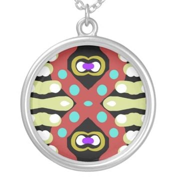 Unique Crazy Abstract Artwork Totem Round Pendant Necklace