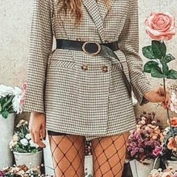 Hanging With The Boys White Black Plaid Long Sleeve Double Breasted Button Blazer Jacket Outerwear
