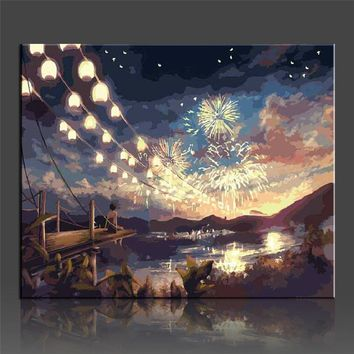 WEEN DIY Pictures Painting By Nummber DIY Fireworks Wall Oil Canvas Art Coloring By Number Digital Quadros De Parede Sala Estar