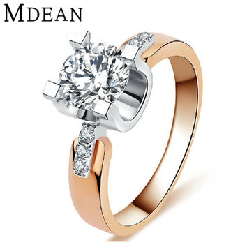 MDEAN Rose gold filled Wedding Rings For Women Engagement CZ diamond Jewelry Vintage women rings Accessories bague 18KR015