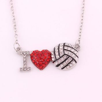 I Love You Silver Plated Crystal Red Heart Volleyball Ball Pendant Necklace Jewelry for Girlfriend