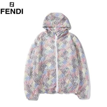 Fendi New fashion multicolor letter print hooded long sleeve coat windbreaker