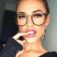 Sexy Rivet Clear Glasses Myopia Frame Clear Lens Glasses Women Men Spectacle Frame Clear Lens Optical Round Glasses Frame Ladies