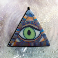 Glow in the Dark All Seeing Eye Illuminati Pyramid EyeGloArts Handmade Millefiore Blacklight Art #P12014