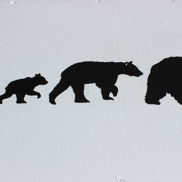 Black Bear Set of 4 Metal Wall Art
