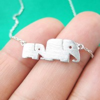 Mother and Baby Elephant Animal Silhouette Pendant Necklace in Silver | DOTOLY