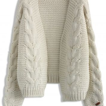 Sun Daze Cable Knit Cardigan in Ivory - Retro, Indie and Unique Fashion