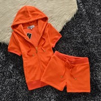 Juicy Couture Original Velour Tracksuit 607 2pcs Women Suits Orange