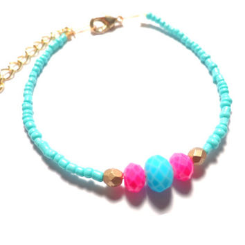 Boho Friendship Armparty Gold Pink and Turquoise Beaded Bracelet