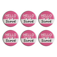 Scout Hello My Name Is Plastic Resin Button Set of 6