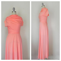 Vintage 1970s  Peach Short Sleeve Maxi Dress