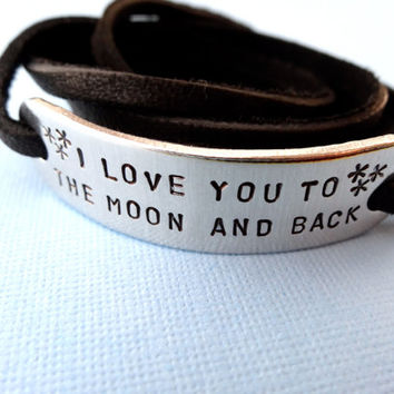 Personalized Bracelet  I Love You To The Moon And by TesoroJewelry