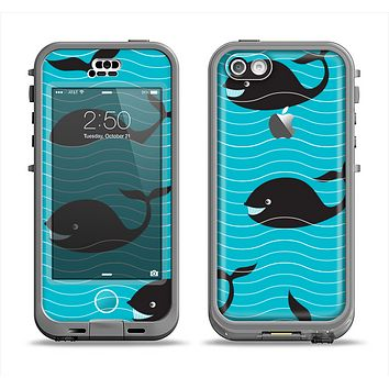 The Teal Smiling Black Whale Pattern Apple iPhone 5c LifeProof Nuud Case Skin Set
