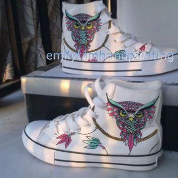 DCCK1IN dreamcatcher converse sneakers with owl custom shoes owl and dreamcatcher inspired