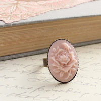 Pink Rose Ring, Vintage Style Ring, Pastel Pink Rose Cameo, Large Cocktail Ring, Resin Jewelry