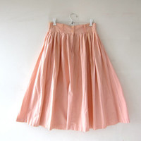 Vintage Light Wash Peach Skirt. Mini Length Skirt. Button Front Skirt. High Waist Skirt. Bohemian Preppy.