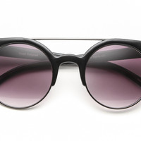 Round Sunglasses with Cat-Eye Tips