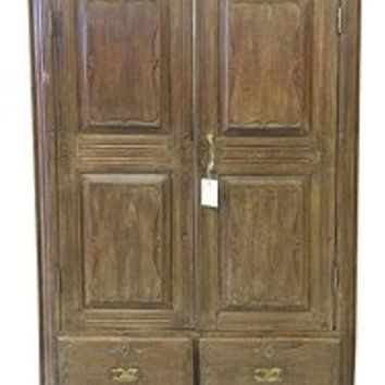Antique Armoire British Indian Almirah Furniture Vintage Cabinet Bedroom Storage | Mogul Interior