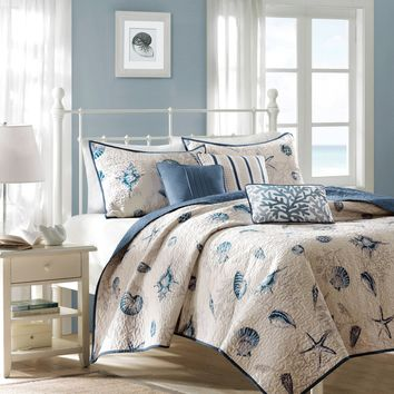 Nantucket 100% Polyester 6 Piece Microfiber Brushed Printed Coverlet Set by Madison Park - Bedding and Bedding Sets at Hayneedle