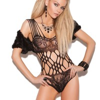 Lace teddy with cutout detail  Black One Size