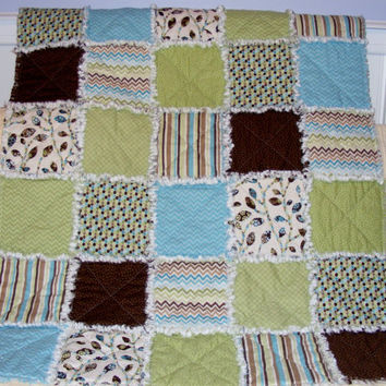 Baby Rag Quilt, Crib Quilt, Nursery Blanket, Modern Rag Quilt, Feathered Friends, 35 X 42. Green, Turquoise, Brown, Handmade, Ready to Ship