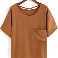 Khaki Short Sleeve Pocket Loose T-Shirt -SheIn(Sheinside)