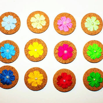 Decorative Blue, Yellow, Pink, and Green Flower Cork Magnets - 12 Pack!