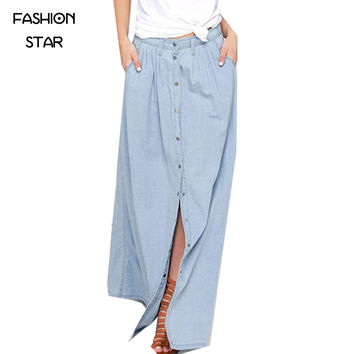 Long Skirt 2016 Summer Women Saia Middle Waist Slit Skirts Straight Casual Denim Saia Plus Size Petticoat  With Button