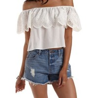 White Off-the-Shoulder Eyelet Flounce Top by Charlotte Russe