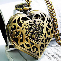 Heart Shape Pocket Watch Locket Necklace (PWAT0108)
