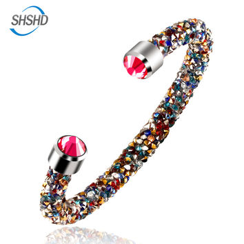 2016 New Style 16 colors brand Crystal Bracelets & Bangles for Girl Women FullCrystal strand Bracelets best gift women's jewelry