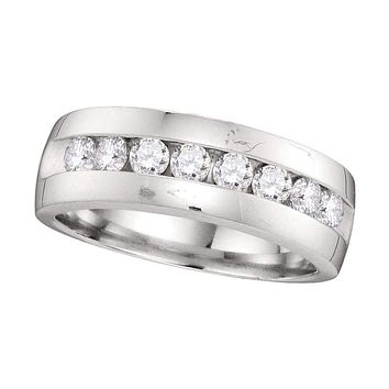 14kt White Gold Men's Round Diamond Wedding Anniversary Band Ring 1.00 Cttw - FREE Shipping (US/CAN)