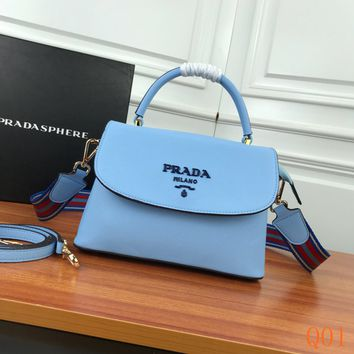 HCXX 19Aug 993 Prada 82502 Fashion Leather Knit Strap Flap Bag Causal Baguette Bag 24-15-10cm