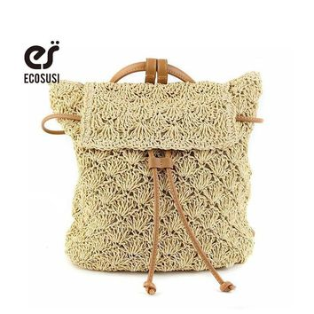 ecosusi Multi-Functional Straw Backpack Leisure Straw Bag Manual Made Grass  Crochet Summer Beach Handmade backbag