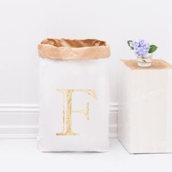 Personalised Gold Letter Storage Paperbag