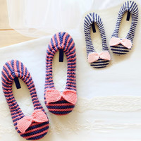 Blue Red Stripe Pattern Bow Slippers
