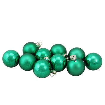 "10-Piece Shiny and Matte Green Glass Ball Christmas Ornament Set 1.5"" (45mm)"