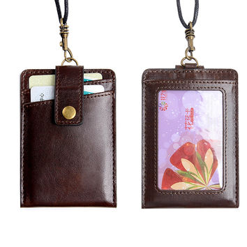 100% Genuine Leather Neck Wallets Cowhide Card Holders Brown color ID Card Folders Credit Card Covers Accept Customized