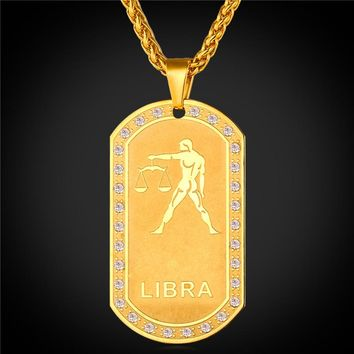 Gold Color Necklace Dog Tags-Libra