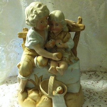 Victorian German Bisque Porcelain Boy and Girl Figurine 19th Century Heubach Style Antique Girl and Boy Sitting on Wall With Apple Basket
