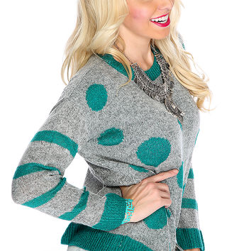 Grey Teal Long Sleeve Two Tone Polka Dot Cute Sweater