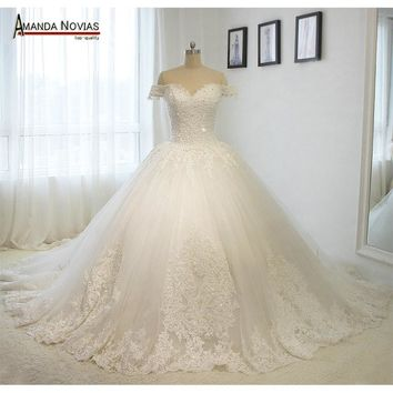 Off the shoulder short sleeves luxury long train wedding dresses 2016