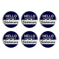 Seamus Hello My Name Is Plastic Resin Button Set of 6