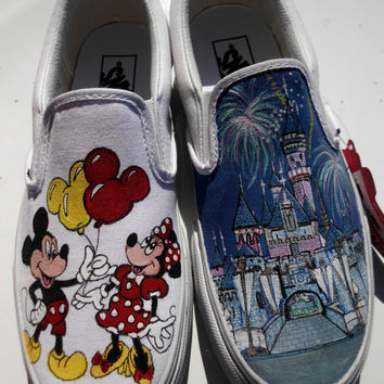 SALE Little Mermaid or Mickey Minnie Mouse Disneyland Sleeping Beauty / Cinderella Castle Custom Painted Toms Vans