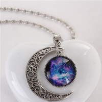Vintage Galaxy Artificial Gemstone Moon Shape Pendant Necklace