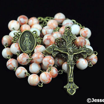 Catholic Rosary Beads Rustic White Marble Bronze Natural Stone Traditional Five Decade
