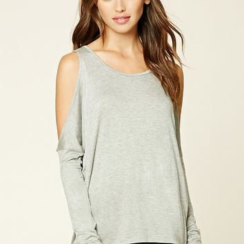 Heathered Open-Shoulder Top
