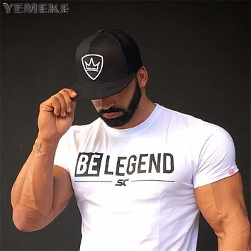 Men summer gyms t shirt Fitness Bodybuilding Cotton Shirts Cross fit workout Short Sleeve male sporting Tees Tops clothes
