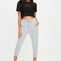 Missguided - Grey Cropped Lace Up Joggers