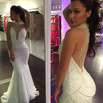 See Through 2017 Mermaid High Collar Chiffon Pearls White Sexy Long Women Prom Dresses Prom Gown Evening Dresses Evening Gown